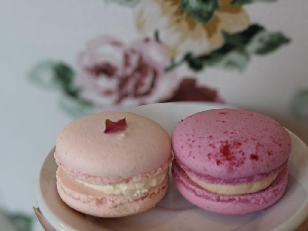 two pink macarons